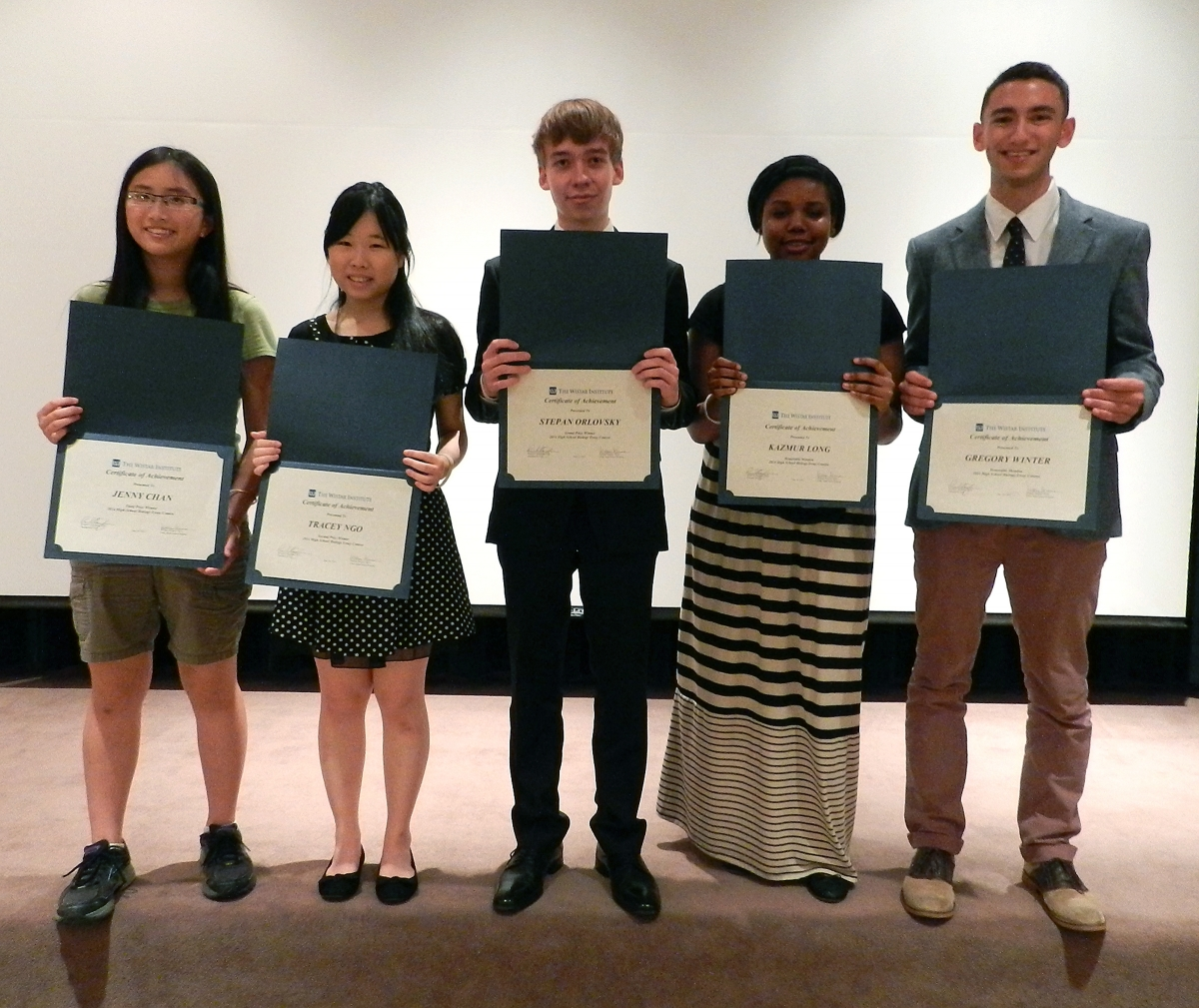 Winners of the 2014 Annual Biology Essay Contest