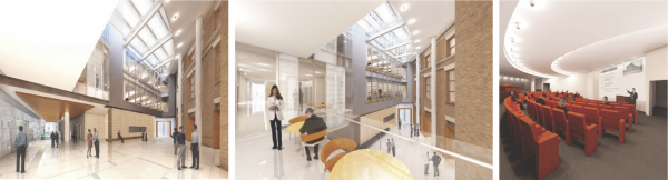 Renderings of the interior of the new Wistar Institute.