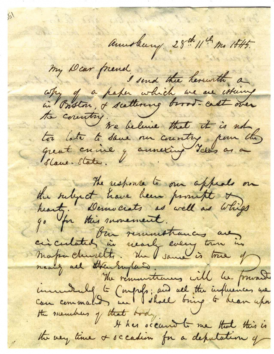 Abolitionist letter, page 1