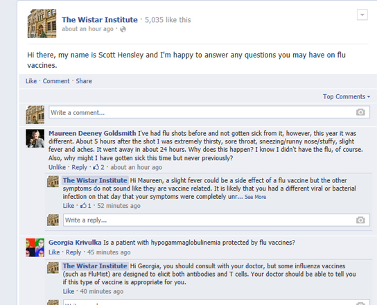 A screenshot of the Facebook Q&A with Scott Hensley