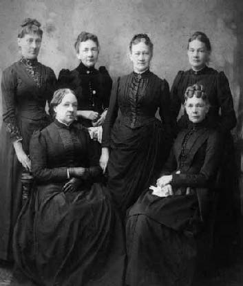 The sisters of Issac J. Wistar in November 1861. Top row, L to R: Lydia Kendall, Kate Wistar, Hannah Hacker, Sarah Rhoads. Bottom row, L to R: Margaret Haines, Mary Brown.