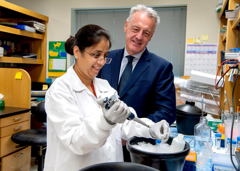 Dr. Dario Altieri in his Wistar lab overseeing an experiment